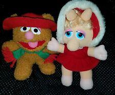 "1987 Baby Fozzie Bear & Miss Piggy Muppets~ Plush Stuffed Animals 9"" vintage j95"