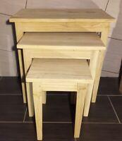 Set 3x Holzhocker Beistelltisch 60cm Stuhl Couchtisch Bali Handarbeit Massivholz