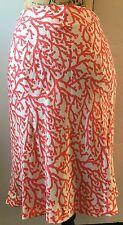 LES COPAINS Silk Flared Hem Ruffle Skirt Coral Beach Print Geranium Knee Size 6