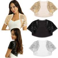 Women Glitter Sequins Jacket Open Front Crop Top Shrug Bolero Party Cocktail Top