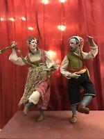 Coppia figure Danzatori Ballerini 45 cm presepe Napoletano