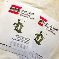 Ammco Operating Maintenance Amp Parts Manuals 6000 6002 Heavy Duty Brake Lathes