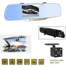 FHD 1080P Dual Lens Car Rear View DVR Reversing Mirror Video Recorder Camera Cam