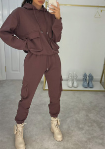 Womens Ladies Tracksuit Hooded 2 Piece Loungewear Co Ord Set Cargo Suit Pockets