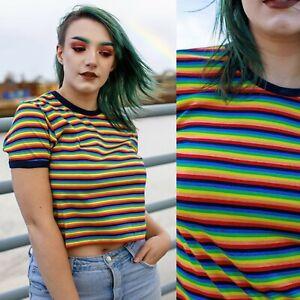 Cropped Rainbow Stripe T Shirt by Run and Fly XS S M L XL Bright Fun Retro