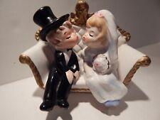Vintage Porcelain Kissing Bride & Groom Figurines - Lefton