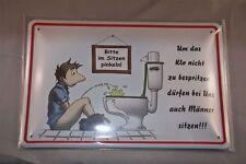 Bitte im sitzen Pinkeln Blechschild quer 20x30 cm Blechschilder WC Klo Toilette