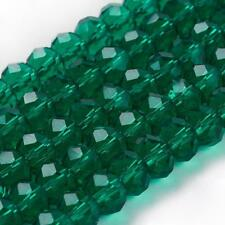 70 FACETED RONDELLE SEA GREEN/TEAL GLASS BEADS CRYSTAL 8MM