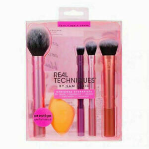 Real Techniques Makeup Brushes Set Foundation Smooth Blender Sponges Puff AU