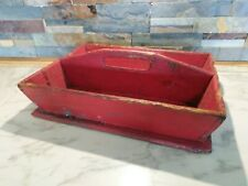 Early Primitive Wooden Wood Cutlery Tray Tote Old RED Paint Antique Carrier