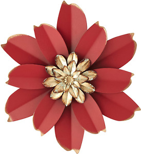 H HOMEBROAD. 12 Inch Metal Flower Wall Art Outdoor Wall Decor for Bedroom Bathro