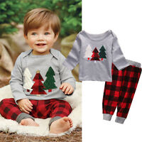 Xmas Baby Boy Girls Hoodie T-Shirt+Plaid Pants Outfits Chritmas Clothes 2PCS