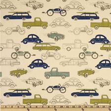 Vintage Cars Fabric Premier Prints Retro Rides Fabric Natural Felix Citrine Blue