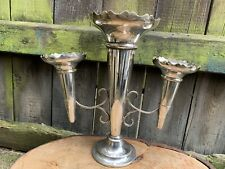 More details for antique english centrepiece treble epergne trumpet vase flower epns display