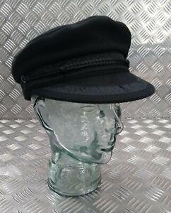 Black Wool Mix Fully Lined Breton Type Cap Sailors Hat Peaked Boatman's Cap