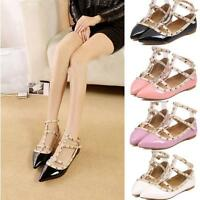 New Womens T-strap Studded Rivet Metal Flats Pointed Toe Shoes Party Shoes