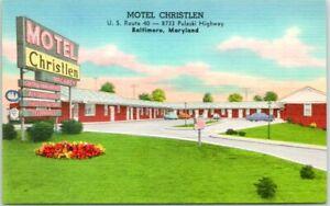 1940s BALTIMORE, Maryland Postcard MOTEL CHRISTLEN Route 40 Roadside Linen