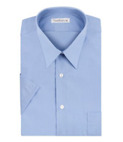 Van Heusen Men's Short Sleeve Poplin Dress Shirt, Cameo Blue MSRP $ 42.50