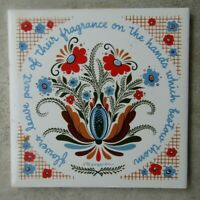 "Swedish Berggren Tile 6x6"" Trivet Flowers 1960'S Vintage Folk Art Floral"