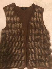 women's Nordstrom Jack by BB Dakota faux fur brown vest/sweater jacket size M!!