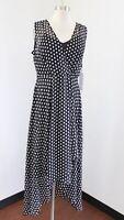 NWT Calvin Klein Black White Polka Dot Hi Lo Chiffon Midi Maxi Dress Size 14
