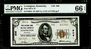 $5 1929 National Bank Note Lexington, Kentucky Fr#1800-2 PMG 66 EPQ Gem UNC.