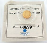 PRESIDENTS OF THE USA IN GOLD. 14K PROOF. BARACK OBAMA. 00699