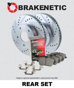 REAR BRAKENETIC SPORT Drill Slot Brake Rotors+POSI QUIET Ceramic Pads BSK82909