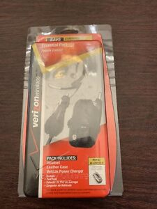 VERIZON WIRELESS ESSENTIALS PACKAGE-  HEADSET, LEATHER CASE , VEHICLE CHARGER