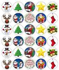 Christmas Santa Kids Cupcake Toppers Edible Wafer Paper BUY 2 GET 3RD FREE!