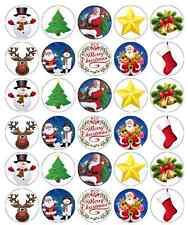 Christmas Santa Kids Cupcake Toppers Edible Wafer Paper BUY 2 GET 3RD FREE!