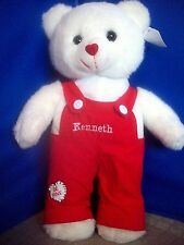 Valentine White Plush Teddy Bear Boy Kenneth Heart-Shaped Nose Gift New!