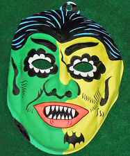 Vintage 'Hippie Vampire' Halloween mask ~ kids size 1960s / Count Dracula