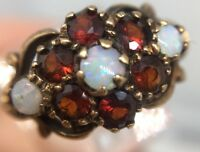 Vintage Unusual Yellow Gold Garnet And Opal Large Cluster Ring Band