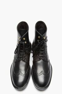 Handmade Men Wing tip brogue black leather boots, Men black leather ankle boots
