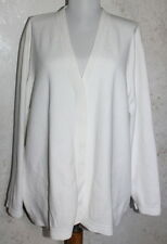 DANA BUCHMAN WOMAN {3X} White Long Sleeve Hidden Button Cardigan Sweater