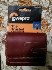 NICE LOWEPRO PORTOFINO 20 RED LEATHER POUCH FOR COMPACT DIGITAL CAMERAS, NEW