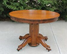 Fabulous Antique 42 inch Round Solid Oak Claw Feet Dining Table w 2 Leaves c1900