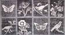 """Botanical Beauty Smoke French Jardin Robert Kaufman Fabric Block Panel 24"""""""
