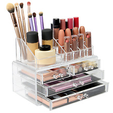 Cosmetic Makeup & Jewelry Organiser Clear Acrylic 20 Section Holder Pukkr