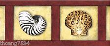 Zebra Leopard Tiger Seashell Animal Print Burgundy Red Frame Wall paper Border
