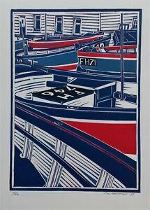 Coverack Cornwall Linocut Print