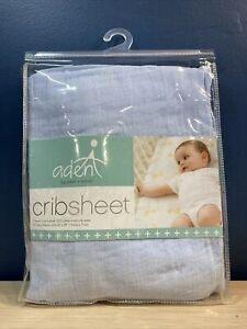 """Aden by Aden + Anais 100% Cotton Muslin CRIB SHEET 52"""" X 28"""" SOILD BLUE NWT"""