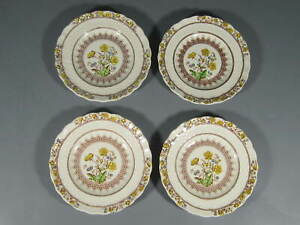 """4 VINTAGE SPODE BUTTERCUP Small Bread Butter PLATE 5 1/2"""" Old Mark"""