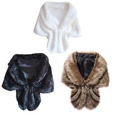 Womens Faux Fur Winter Warm Shawl Cloak Cape Coat wedding Jacket Wrap Stole