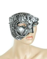 Burning Man Half Mask Steampunk Gear Halloween Costume Masquerade Mask-Silver