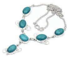 Spiritual Jewelry Green Turquoise Oval Shape Superb Handmade Necklace 16 mE222