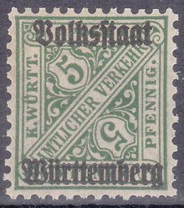 Altdeutschland / Württemberg Mi. Nr. 260 Volksstaat 1919 5 Pf. Dienstmarke MNH