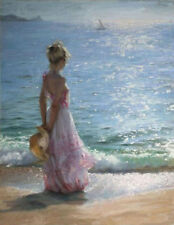 CHOP488 long dress girl portrait handing hat on seaside oil painting canvas art