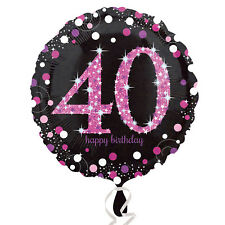Pink 40th Birthday Balloon Foil 18 Inch Large Happy Black Helium Womens Amscan